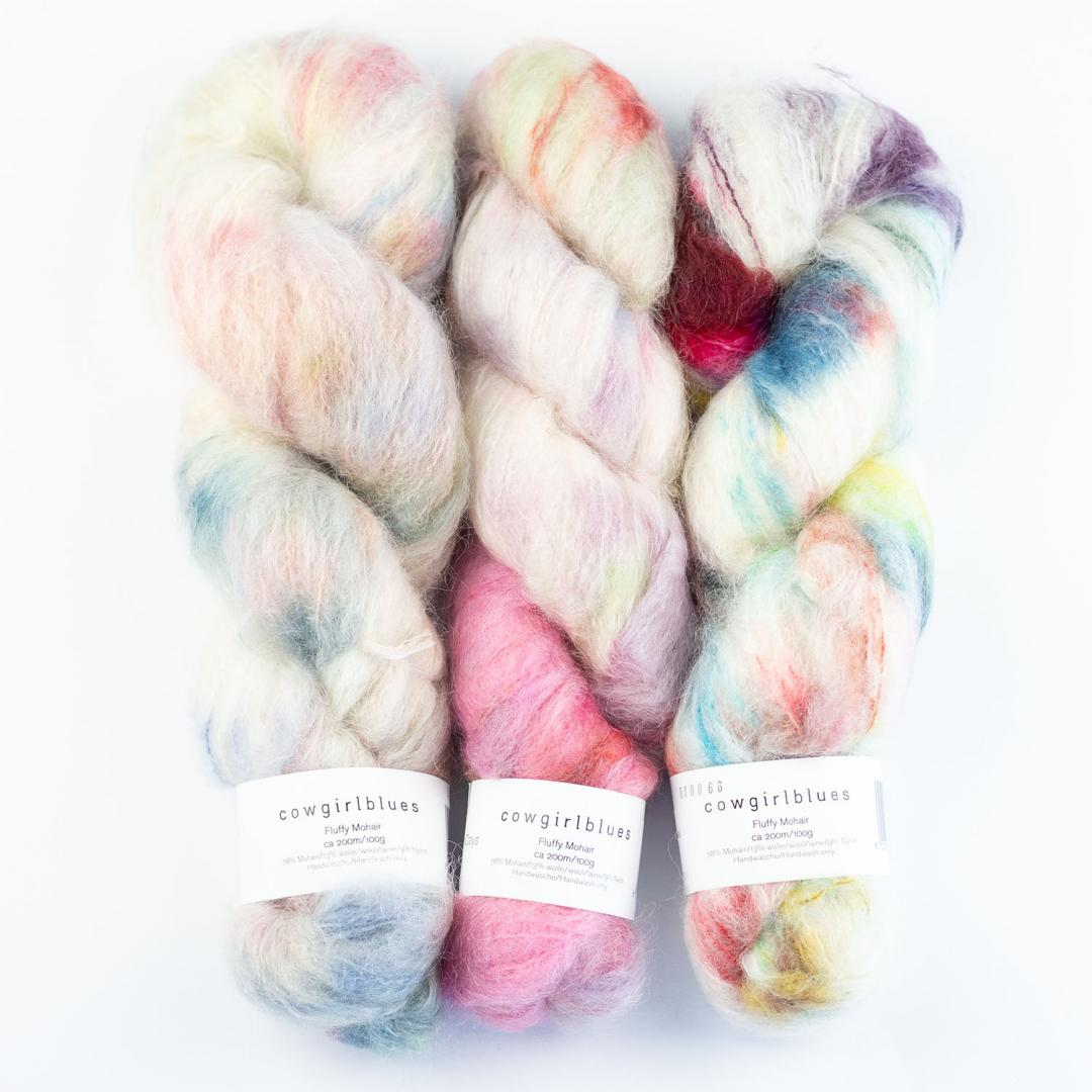 Cowgirl Blues Fluffy Mohair Gradient 100g  Happy Days