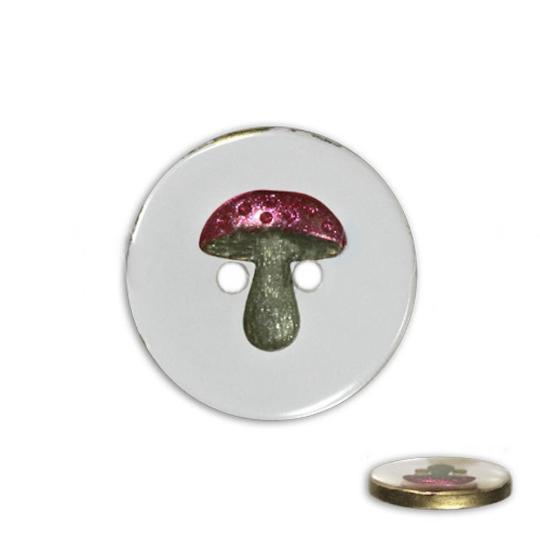 Jim Knopf Bouton résine, motif champignon, différentes tailles