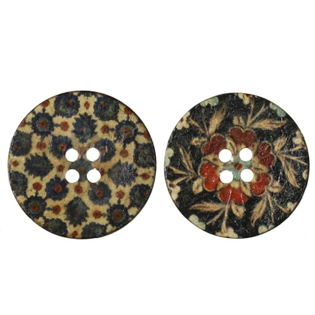 Jim Knopf Boutons coco motifs fleurs dans différentes tailles