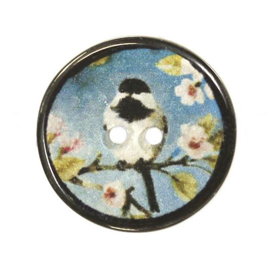Jim Knopf Bouton en résine, oiseaux japonais 20mm