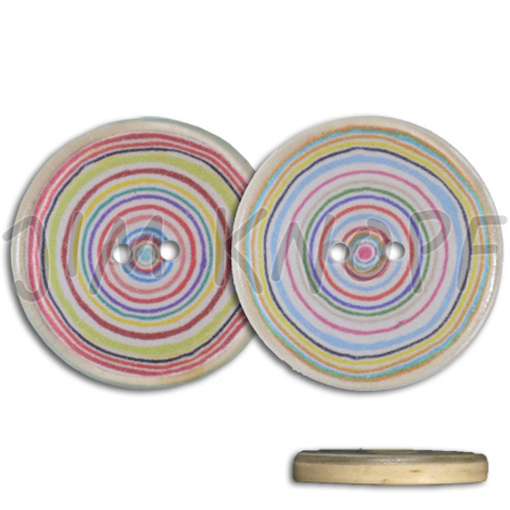 Jim Knopf Bouton résine, cercles colorés. Plusieurs tailles